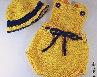 Barboteuse rétro vintage à bretelles et son chapeau  (0-3 mois) tricotés main dans un fil 100 % coton jaune