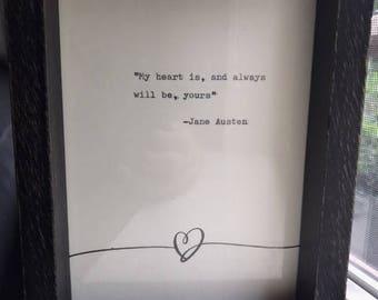 Vintage Jane Austen Quote Typed on Typewriter
