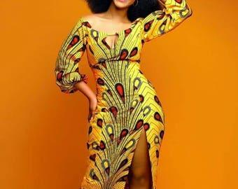 Yellow African Print Ankara Dress for Women