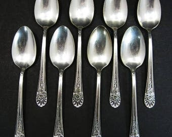 8 Wm Rogers MFG Co Jubilee Teaspoons Spoons International Silver Silverplate
