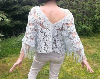"Poncho sweater women spring summer ""Sherazade"" sky blue ornate crochet handmade"