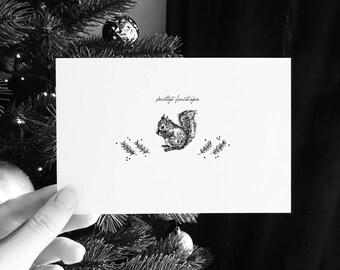 set of HOLIDAYCARDS *in DUTCH* - DIGITAL download - handmade illustrations - Animal Woodland