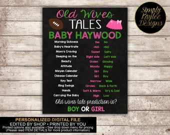 Touchdowns or Tutus Old Wives Tales Gender Reveal Game