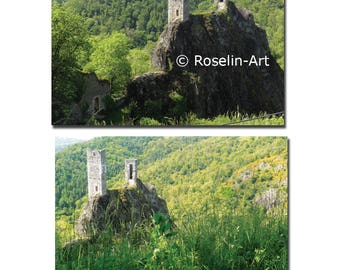 Lot 2 postcards Peyrusse rock (Aveyron)