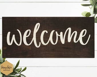 welcome wood sign, dark brown stained wood, rustic sign, front entrance decor, shelf sitter, handwritten font, hallway wall hanging,