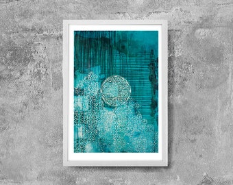 Instant download,decorative vintage,vintage print,vintage ornament ,turquoise,Original abstract painting,rustic decor,large digital print