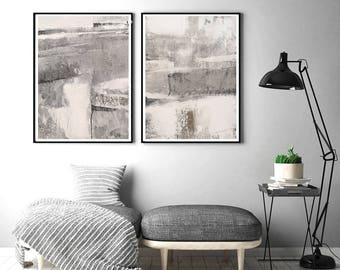 Abstract digital , beige and grey painting, Neutral Minimalist Print , abstract printable, minimalist art , large abstract set of 2