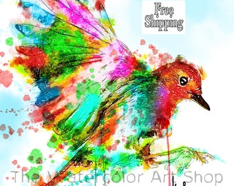 Robin Bird Painting Robin Painting watercolor Print bird art watercolor bird Robin print robin art wall art watercolor painting bird water