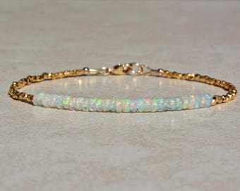 Opal Bracelet, October Birthstone Bracelet, Ethiopian Opal Jewelry, Gold Vermeil, Beaded Gemstone Bracelet, Stack Bracelet, Gift For Her
