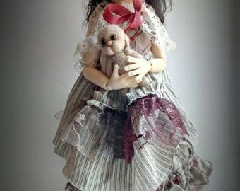OOAK set for Kaye Wiggs dolls.Outfit boho 5 elements and bear for MSD BJD Wiggs 43cm