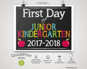 """50% OFF SALE - Printable First Day of Junior Kindergarten Sign, First Day of School Sign, Print at Home, No Waiting, 8"""" x 10"""""""