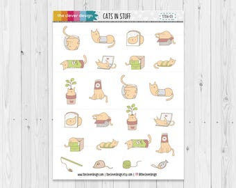 Cats in Stuff | Cute Cat Stickers | Hand drawn Stickers | Planner Stickers | 17356-03