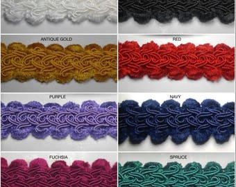 """1/2"""" Chenille Gimp Braid- 18 Continuous Yards - Many Colors Available!"""