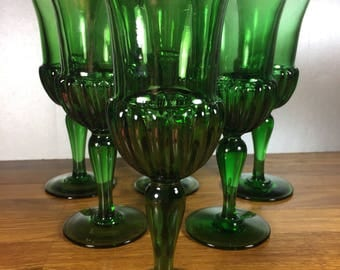 Green Glass Water Goblet 6pc