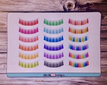 Rainbow Tassel Banner Planner Stickers