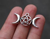 set of 5, triple moon charms, antique silver, metal charms, 30mm × 16mm, triple goddess, pagan charms, wicca charms,