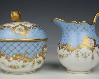 Antique 19C Meissen Sugar Bowl & Creamer