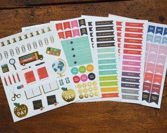 Teacher Planner Sticker Set with Gold Foil Accents