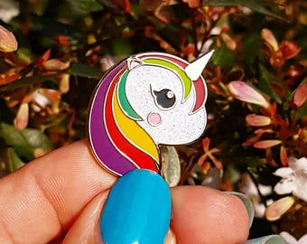 Cute punk unicorn glitter enamel Kawaii pin | Pin Cloissone revers | lapel pin unicorn Kawaii Pin | Unicorno gift brooch with mixed colors |