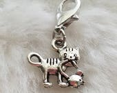 Pewter Cat with Mouse Charm - Clip-On - Ready to Wear