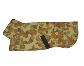 Greyhound Raincoat - Camouflage / Camo  Print with Cotton Lining in Army Green or Black