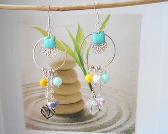 silver ring, multicolor tassel earrings