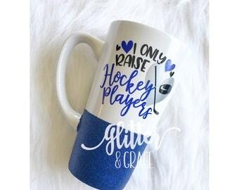 I Only Raise Hockey Players // Personalized Coffee Mug // Glitter Dipped Coffee Mug