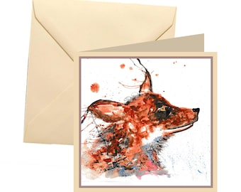 Fox greetings card, blank card, greetings card, birthday card, fox card, fox birthday, note card, thank you card, fox, wildlife card