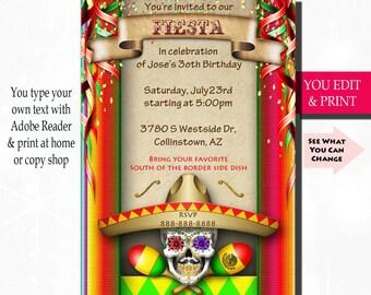Fiesta Invitation, Fiesta Birthday Invitation, Fiesta Party Invitation, Mexican Fiesta Invitation, Mexican Birthday Invitation, You Edit PDF