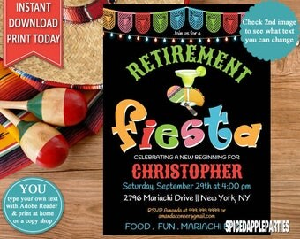 Retirement Party,Fiesta,  Mexican Fiesta, retirement, Mexican Invitation,Fiesta Invitation,Fiesta Retirement,Fiesta Party,Tacos and Tequila