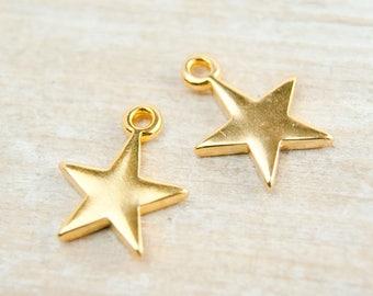 2 pcs. charm star 24K gold pl.  #4503
