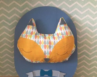 Trophy cloth for baby boy, blue mustard yellow Fox Scandinavian mustache bow