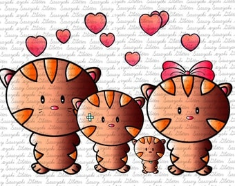 Kitty Family Digital Stamp by Sasayaki Glitter