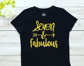 Seven and fabulous Birthday Girl T-shirt , Made to order 7th Birthday T-shirt