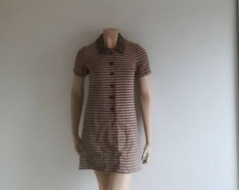 Vintage 70s dress Mini shift mod dress Mad Men dress