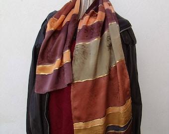 """""""Elégance"""" hand painted man devoured Silk Satin scarf"""