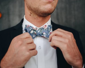 Men's Blue And Pink -self Tie Bow Tie| Flower | Self Tie | Bow Tie | Bowtie | Floral | Wedding | Groom | Gift | Ideas | for him