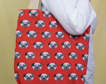 For dog lovers - Pug themed Bag-in-a-bag - handy bag in its own pouch.