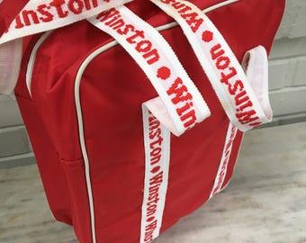 vintage Winston tote bag, cigarette promo canvas bag, red white zippered shoulder zipper bag carry all, retro cigarette bag