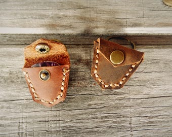 Leather Guitar Pick Holder Keychain