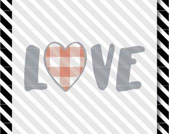Buffalo Plaid Heart svg - Valentine Heart svg - Valentine Love cutfile - Buffalo Plaid svg - Plaid Valentine cutfile - Love svg - Love dxf