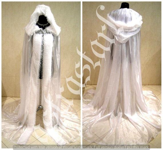 FUR Medieval Cloak White Cape Wedding Dress Costume Snow Ice