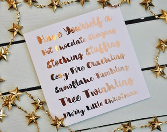 Christmas Card - Stocking Stuffing - Foiled Phrases - Metallic - Typography - Copper - Warm - Cute