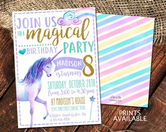 UNICORN BIRTHDAY INVITATION | Unicorn Party | Watercolor Unicorn Invite