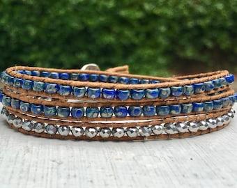 Blue Picasso and Silver Beaded Wrap Bracelet; Beaded Bracelet; Triple Wrap; Layer Bracelet; Stacking Bracelet; Boho Bracelet; Chan Luu Style