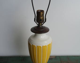 Yellow and White Urn Ceramic Lamp