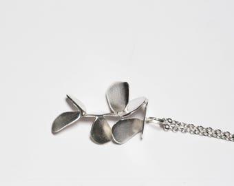 Sterling silver leaf pendant, geometric pendant, Nature pendant