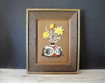 Vintage 70's Floral Crewel Framed Picture