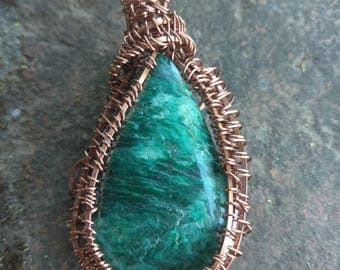 Zoisite Gemstone Pendant wire wrapped in Copper