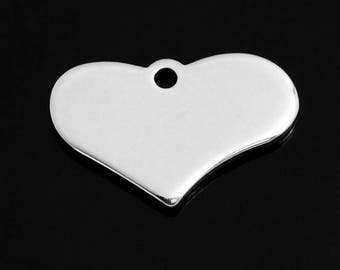 5 Stainless steel Blank Heart Pendant 19x12 mm